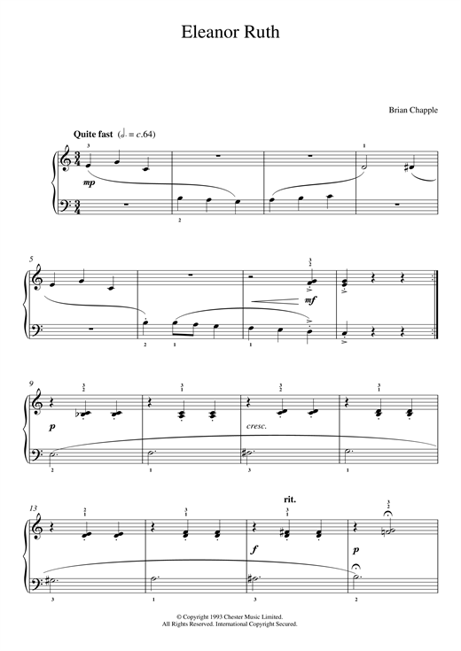Brian Chapple Eleanor Ruth (from In The Pink) sheet music notes and chords