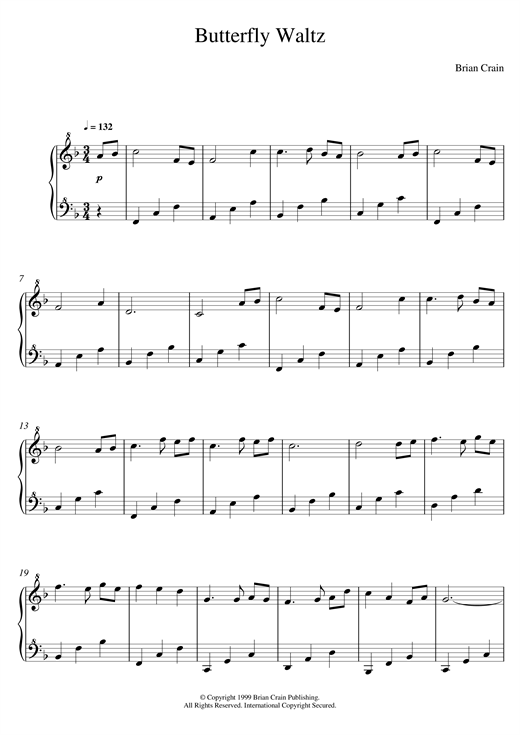 Download Brian Crain 'Butterfly Waltz' Digital Sheet Music Notes & Chords and start playing in minutes