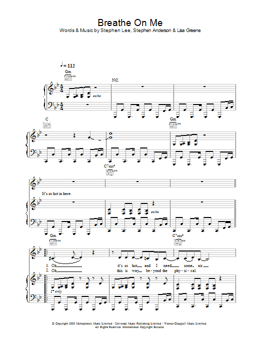Britney Spears Breathe On Me sheet music preview music notes and score for Piano, Vocal & Guitar including 5 page(s)