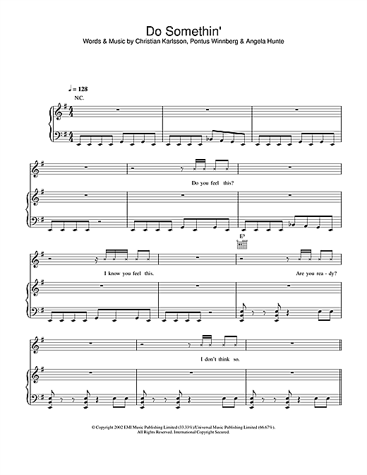 Britney Spears Do Somethin' sheet music notes and chords