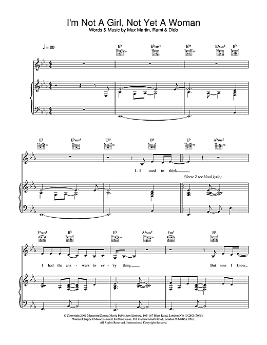 Download Britney Spears 'I'm Not A Girl, Not Yet A Woman' Digital Sheet Music Notes & Chords and start playing in minutes