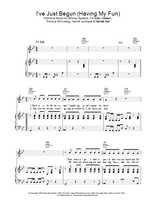 Britney Spears I've Just Begun (Having My Fun) sheet music preview music notes and score for Piano, Vocal & Guitar (Right-Hand Melody) including 6 page(s)