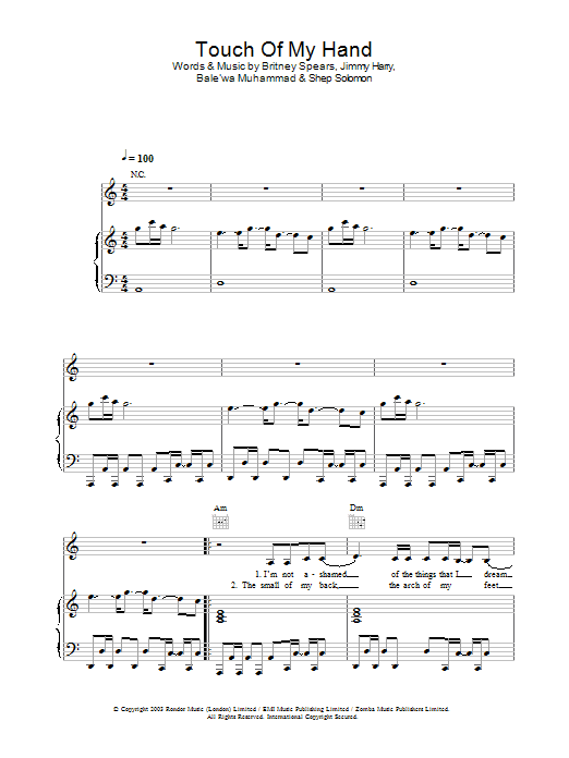 Britney Spears Touch Of My Hand sheet music preview music notes and score for Piano, Vocal & Guitar including 6 page(s)