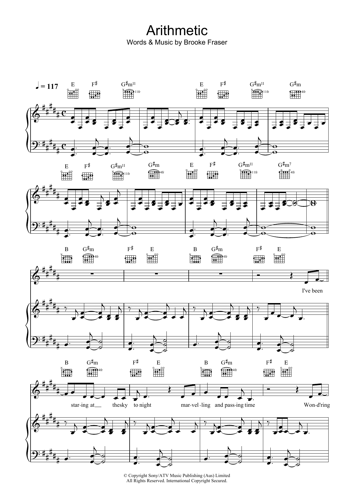 Brooke Fraser Arithmetic sheet music preview music notes and score for Piano, Vocal & Guitar including 7 page(s)