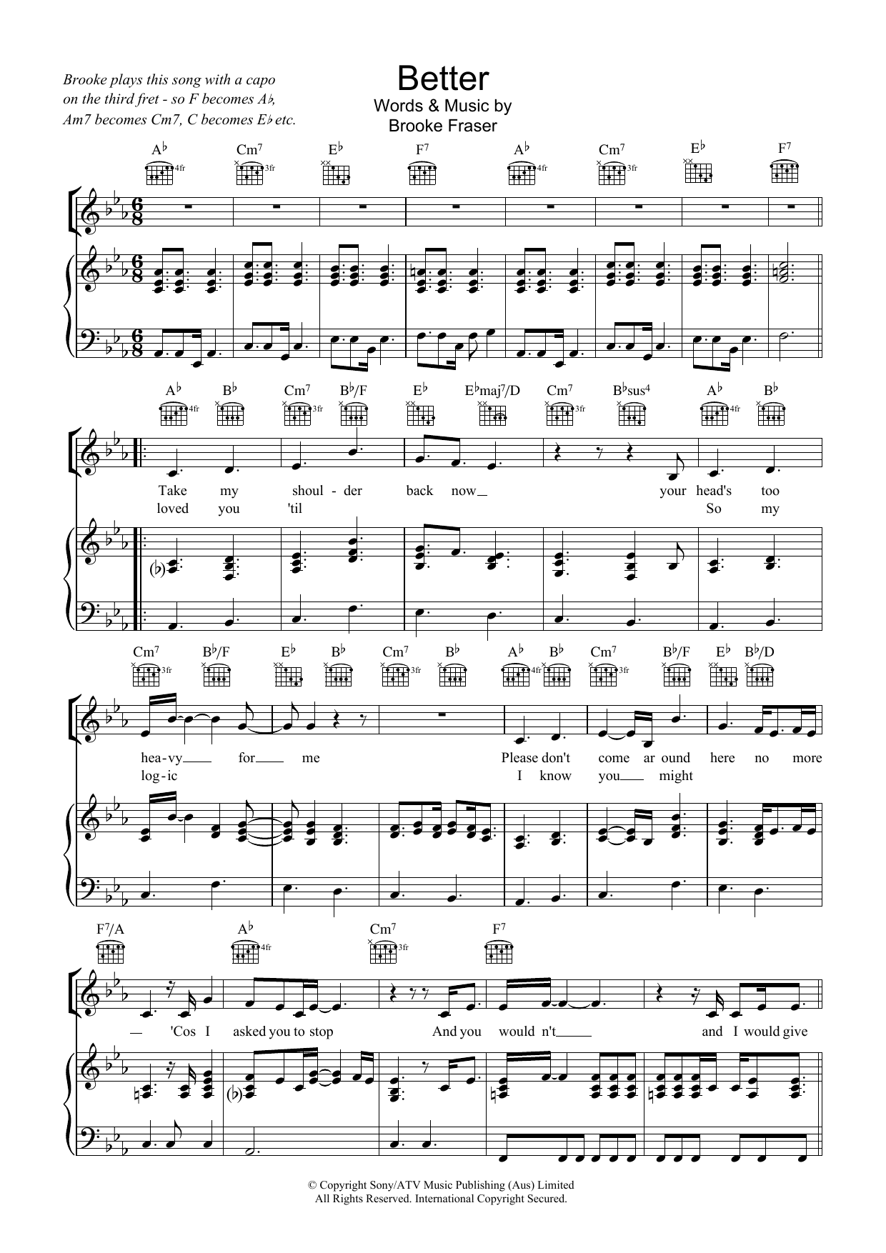 Brooke Fraser Better sheet music preview music notes and score for Piano, Vocal & Guitar (Right-Hand Melody) including 4 page(s)