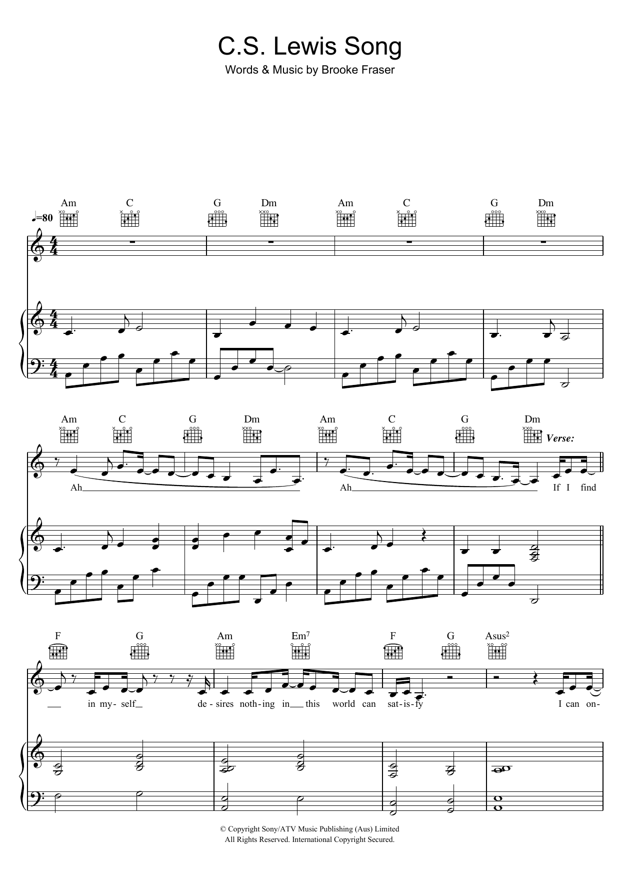Brooke Fraser C.S. Lewis Song sheet music preview music notes and score for Piano, Vocal & Guitar (Right-Hand Melody) including 7 page(s)