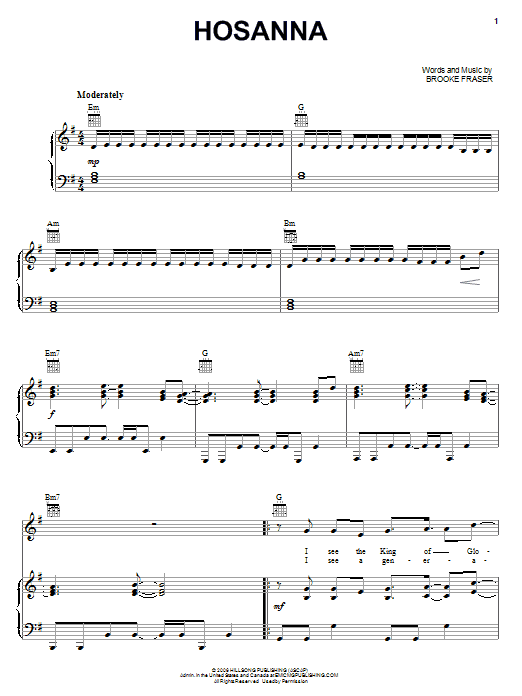 Download Brooke Fraser 'Hosanna' Digital Sheet Music Notes & Chords and start playing in minutes