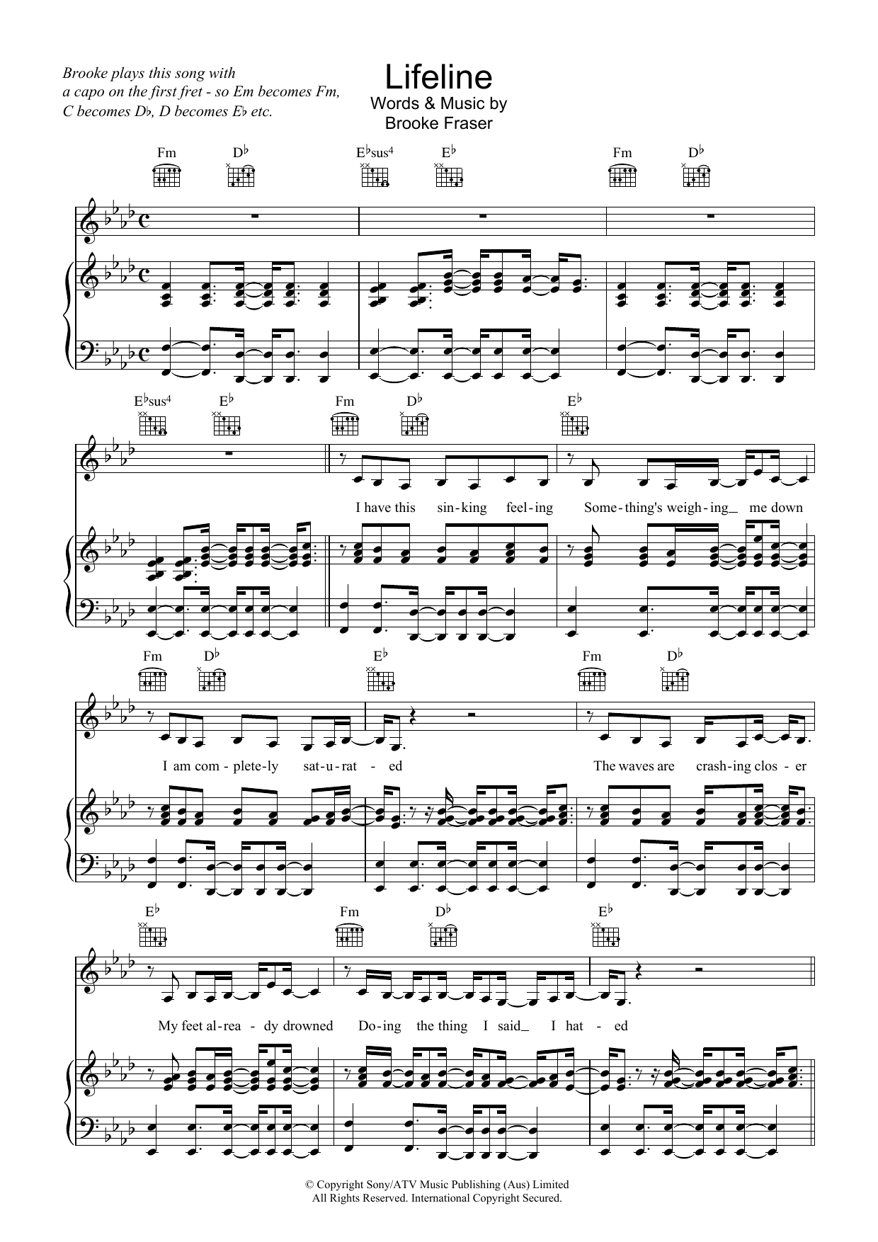 Brooke Fraser Lifeline sheet music preview music notes and score for Piano, Vocal & Guitar (Right-Hand Melody) including 5 page(s)