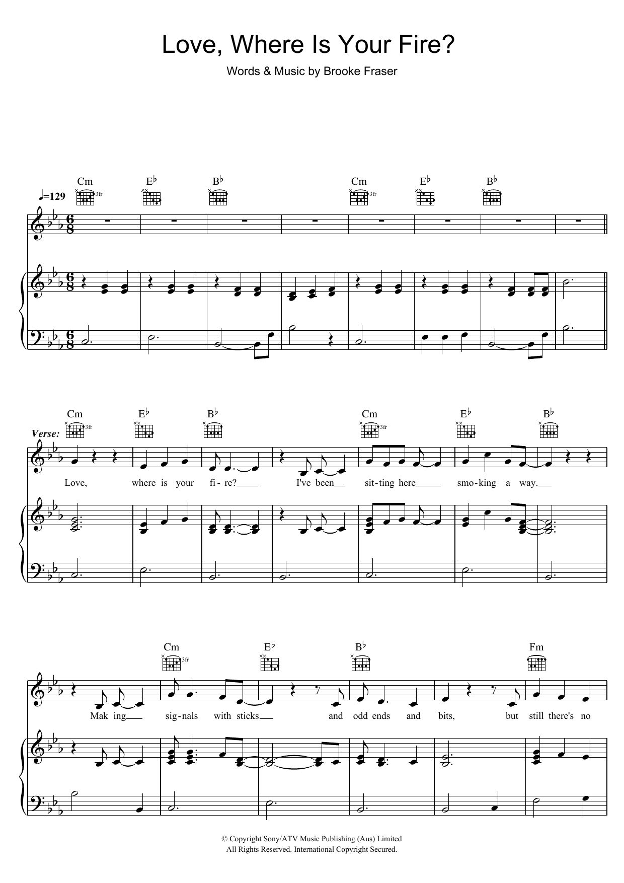Brooke Fraser Love, Where Is Your Fire? sheet music preview music notes and score for Piano, Vocal & Guitar (Right-Hand Melody) including 7 page(s)