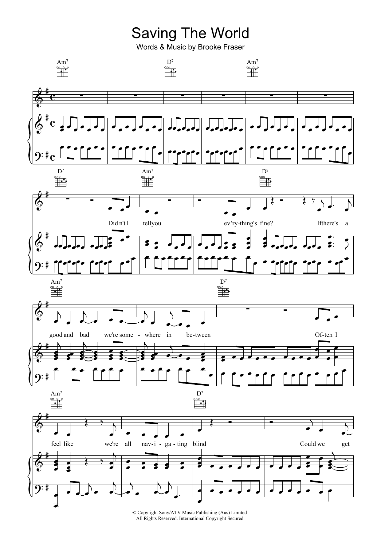 Brooke Fraser Saving The World sheet music preview music notes and score for Piano, Vocal & Guitar (Right-Hand Melody) including 6 page(s)