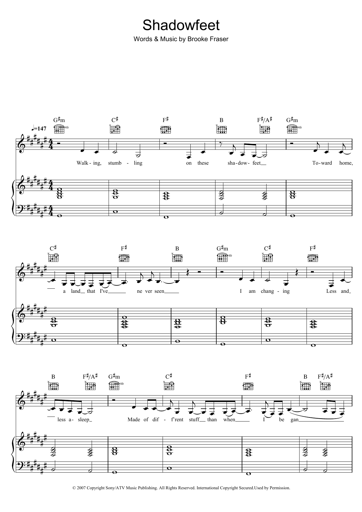 Brooke Fraser Shadowfeet sheet music preview music notes and score for Piano, Vocal & Guitar (Right-Hand Melody) including 5 page(s)