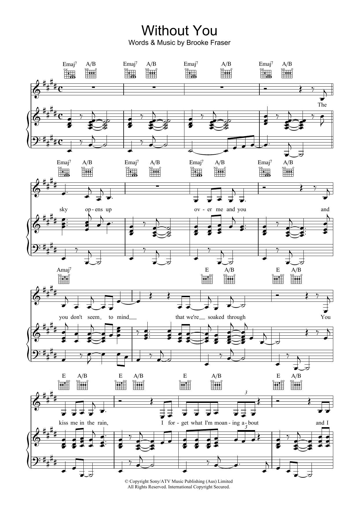 Brooke Fraser Without You sheet music preview music notes and score for Piano, Vocal & Guitar (Right-Hand Melody) including 5 page(s)