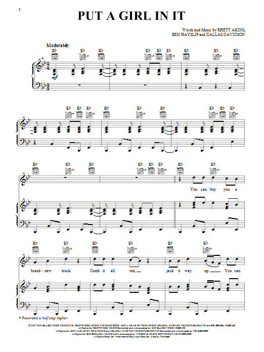 Brooks & Dunn Put A Girl In It sheet music preview music notes and score for Piano, Vocal & Guitar (Right-Hand Melody) including 7 page(s)
