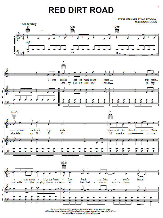 Brooks & Dunn Red Dirt Road sheet music notes and chords