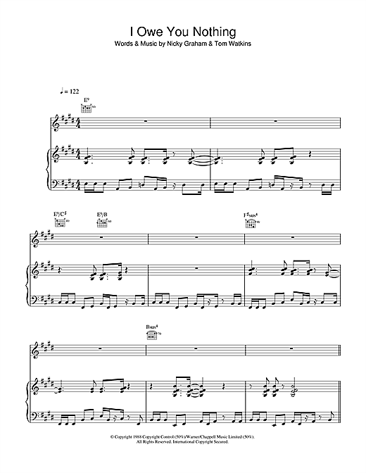 Bros I Owe You Nothing sheet music notes and chords
