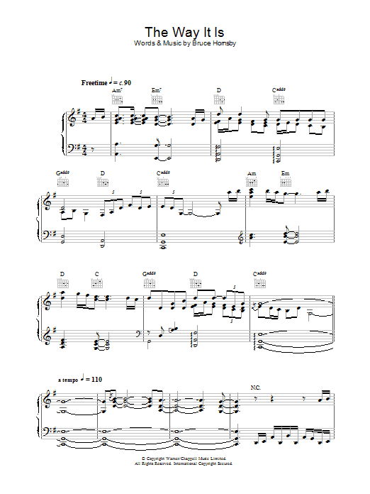 Bruce Hornsby And The Range The Way It Is sheet music preview music notes and score for Piano, Vocal & Guitar including 8 page(s)