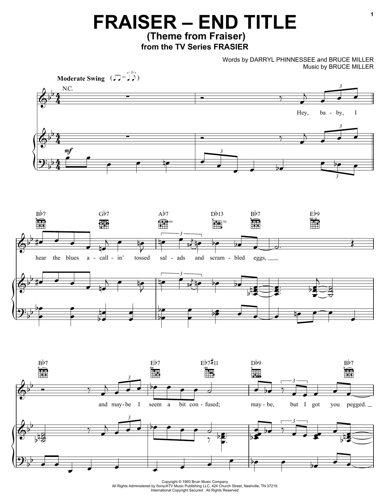 Bruce Miller Theme From Frasier sheet music preview music notes and score for Piano, Vocal & Guitar (Right-Hand Melody) including 2 page(s)