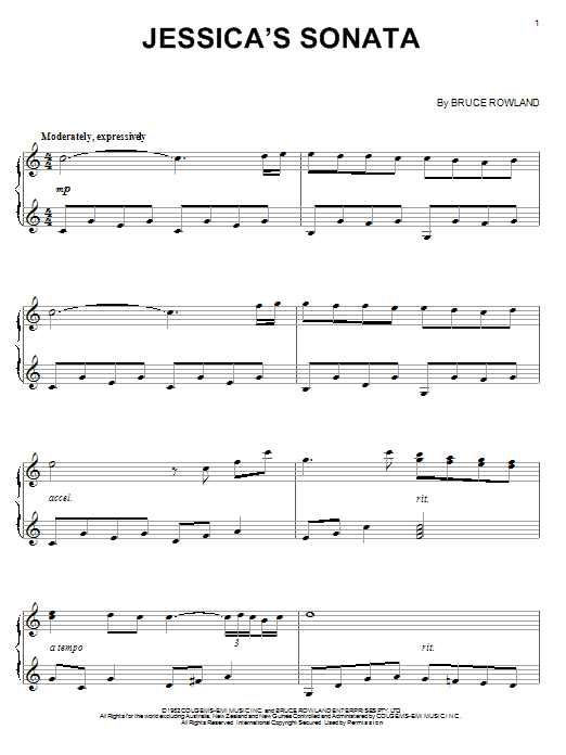 Bruce Rowland Jessica's Sonata sheet music notes and chords