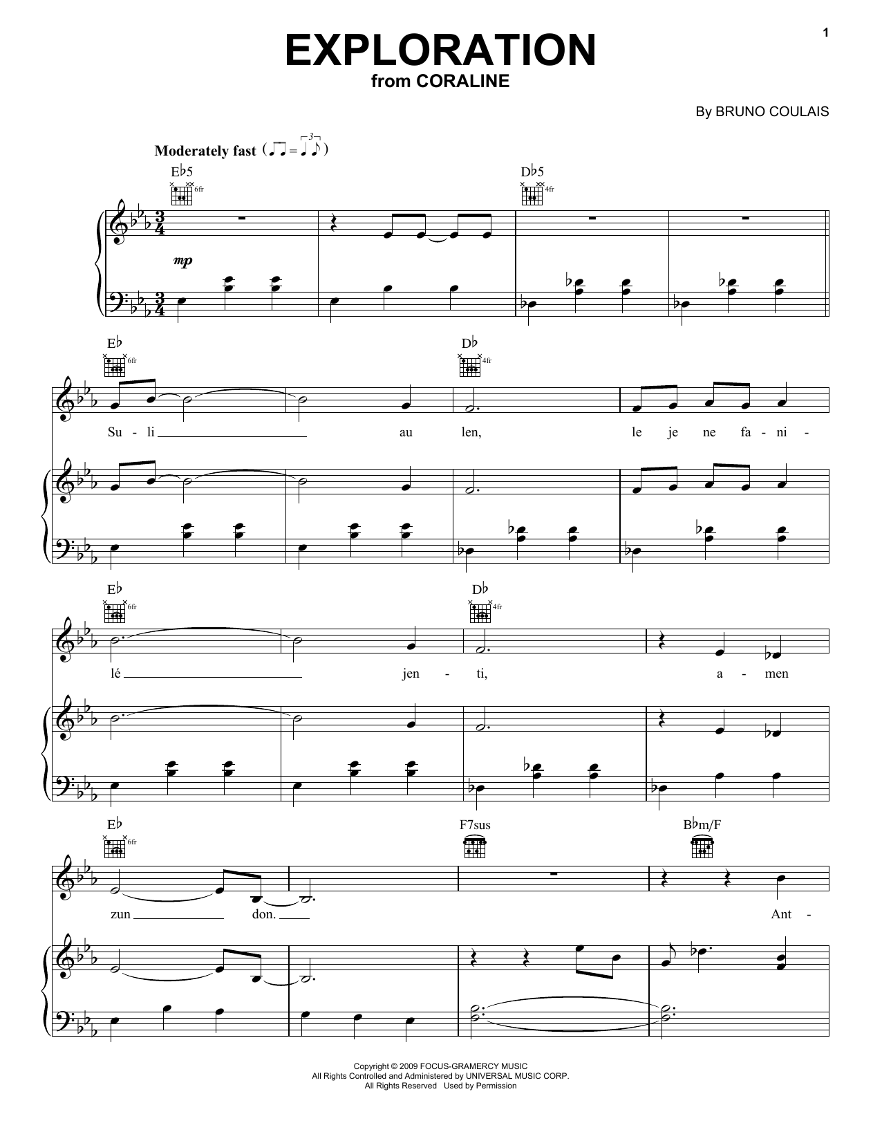 Bruno Coulais Exploration (from Coraline) sheet music preview music notes and score for Piano, Vocal & Guitar (Right-Hand Melody) including 5 page(s)