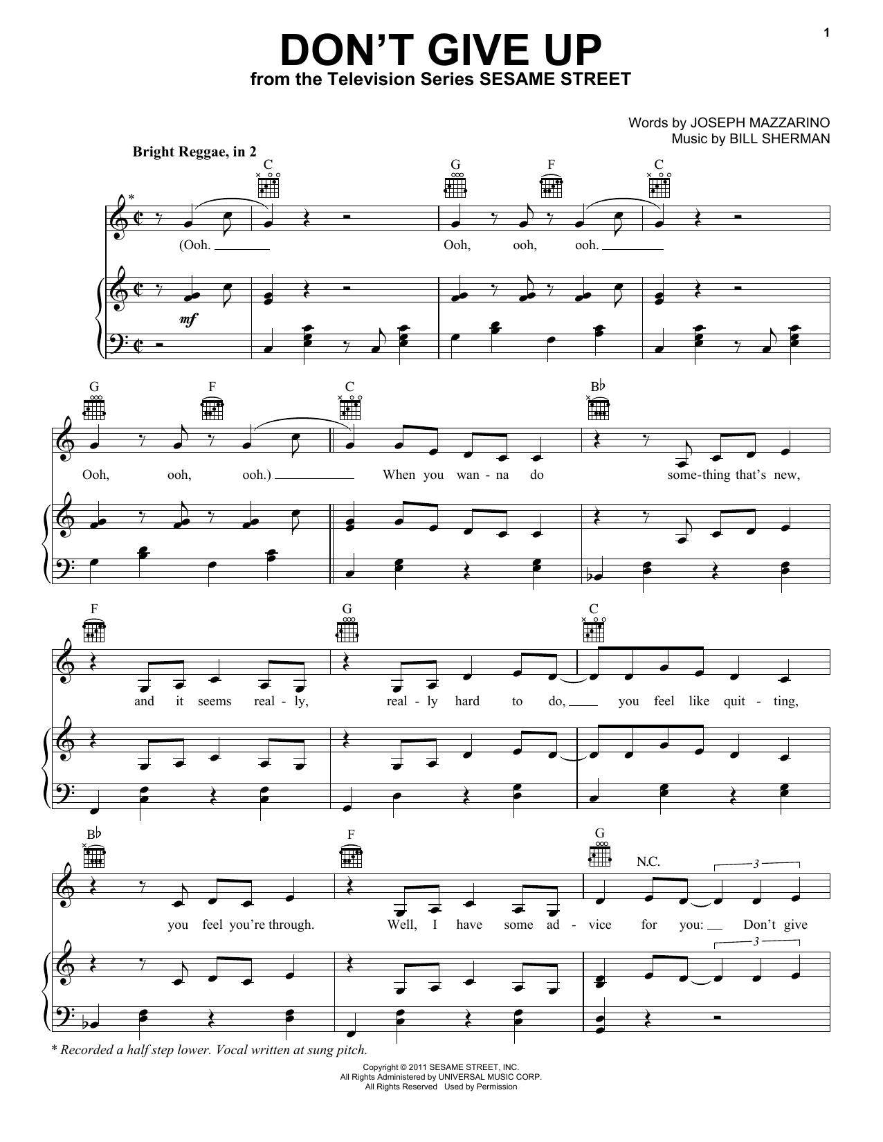 Bruno Mars Don't Give Up (from Sesame Street) sheet music preview music notes and score for Piano, Vocal & Guitar (Right-Hand Melody) including 6 page(s)