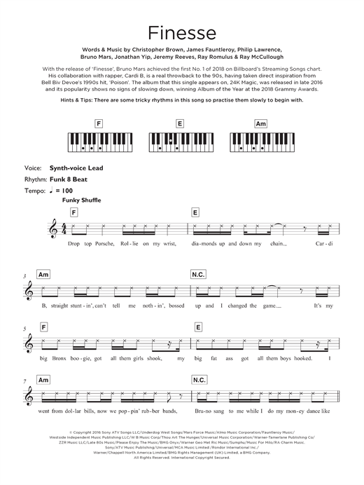 Download Bruno Mars 'Finesse (feat. Cardi B)' Digital Sheet Music Notes & Chords and start playing in minutes