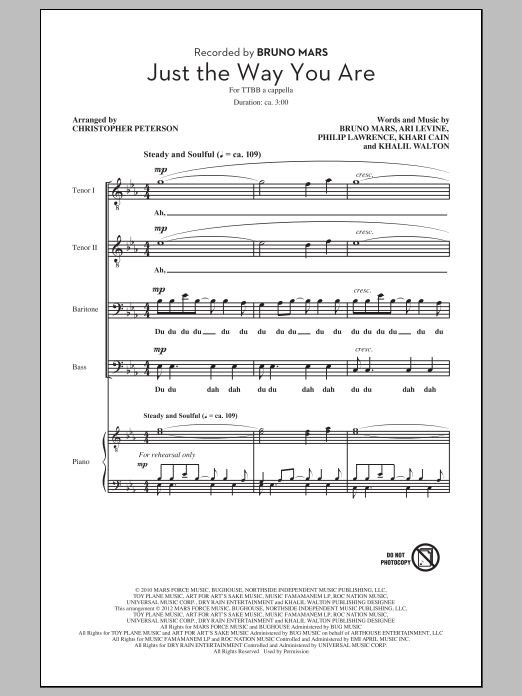 Bruno Mars Just The Way You Are (arr. Chris Peterson) sheet music preview music notes and score for TTBB including 15 page(s)