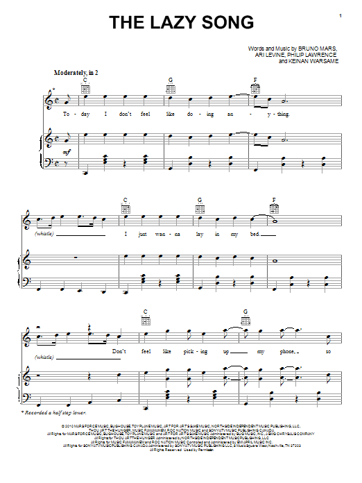 Download Bruno Mars 'The Lazy Song' Digital Sheet Music Notes & Chords and start playing in minutes