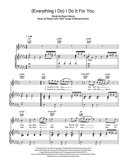 Bryan Adams (Everything I Do) I Do It For You sheet music notes and chords