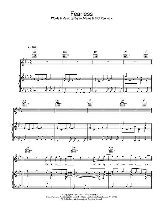 Bryan Adams Fearless sheet music notes and chords