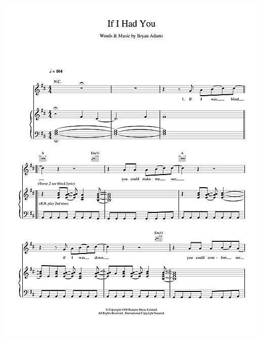 Bryan Adams If I Had You sheet music notes and chords