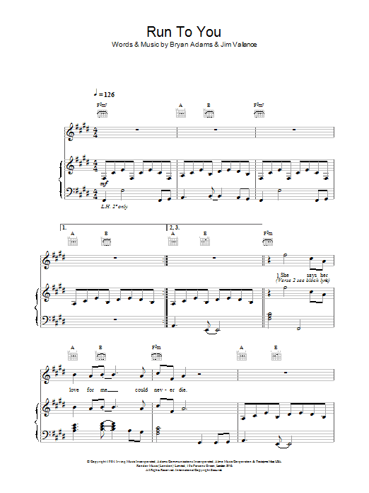 Bryan Adams Run To You sheet music preview music notes and score for Lyrics & Chords including 4 page(s)