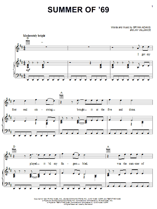 Download Bryan Adams 'Summer Of '69' Digital Sheet Music Notes & Chords and start playing in minutes