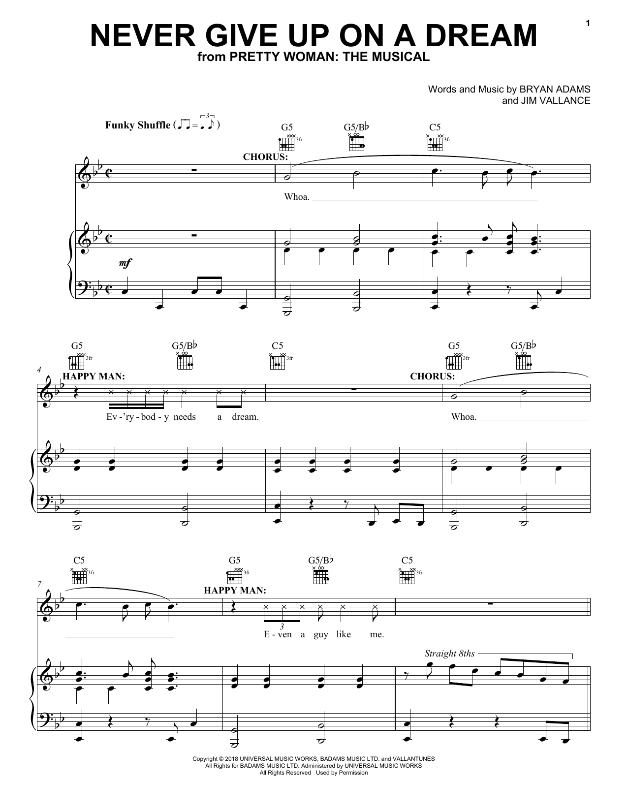 Bryan Adams & Jim Vallance Never Give Up On A Dream (from Pretty Woman: The Musical) sheet music preview music notes and score for Piano, Vocal & Guitar (Right-Hand Melody) including 11 page(s)