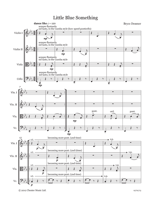 Download Bryce Dessner 'Little Blue Something (String quartet score & parts)' Digital Sheet Music Notes & Chords and start playing in minutes