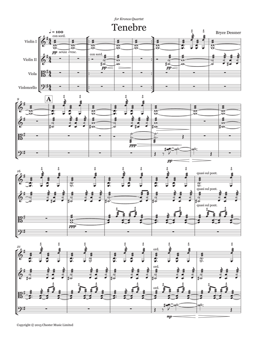 Download Bryce Dessner 'Tenebre (String quartet score & parts)' Digital Sheet Music Notes & Chords and start playing in minutes