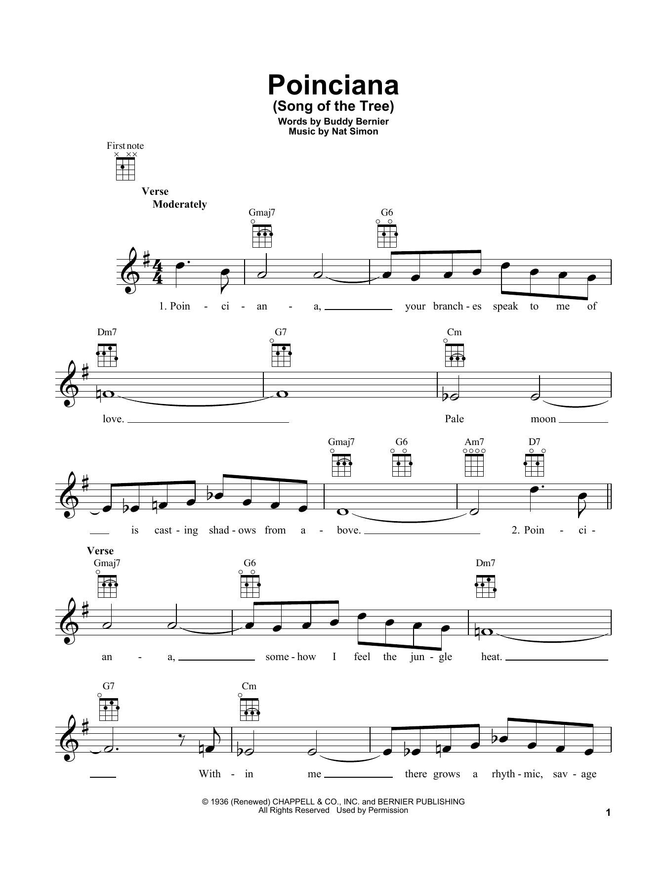 Buddy Bernier Poinciana (Song Of The Tree) sheet music notes and chords