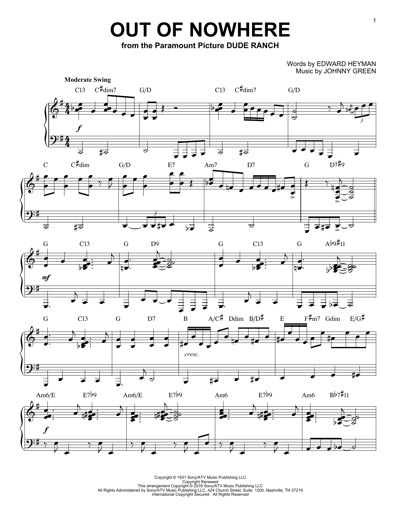 Download Buddy De Franco 'Out Of Nowhere' Digital Sheet Music Notes & Chords and start playing in minutes