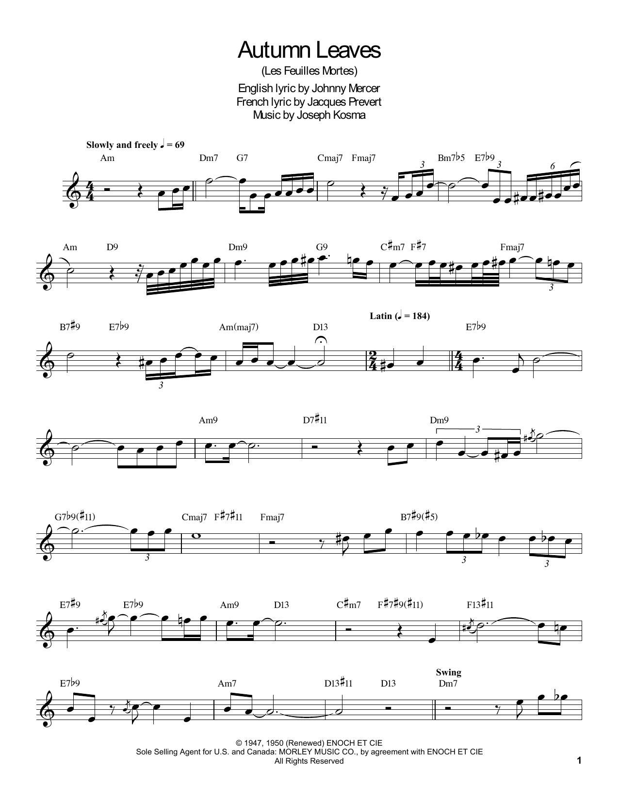 Download Buddy DeFranco 'Autumn Leaves' Digital Sheet Music Notes & Chords and start playing in minutes
