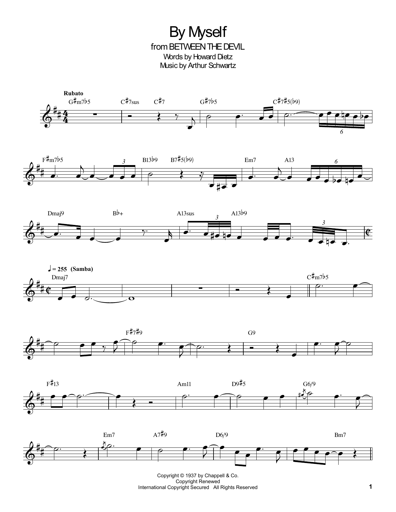 Download Buddy DeFranco 'By Myself' Digital Sheet Music Notes & Chords and start playing in minutes