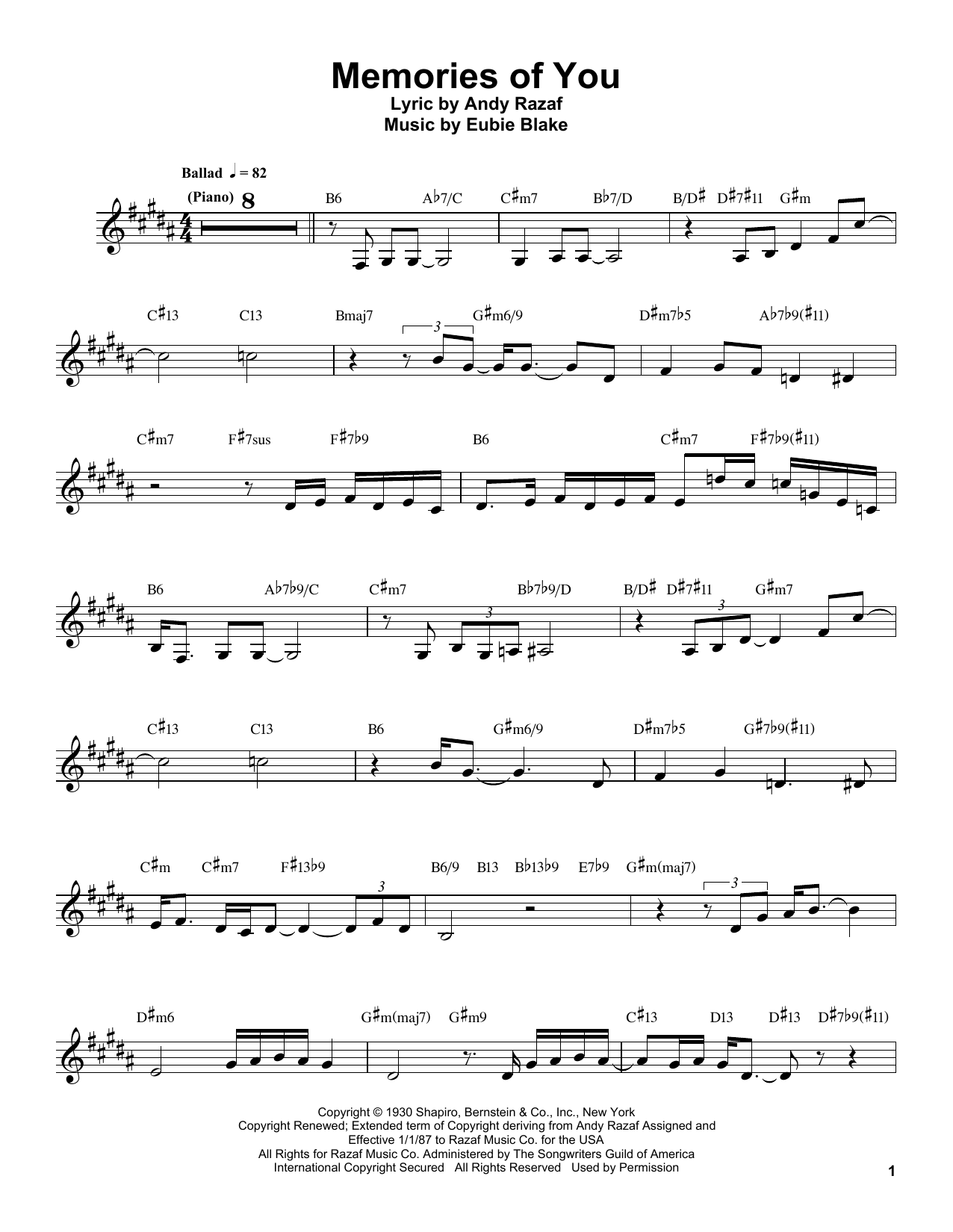 Download Buddy DeFranco 'Memories Of You' Digital Sheet Music Notes & Chords and start playing in minutes