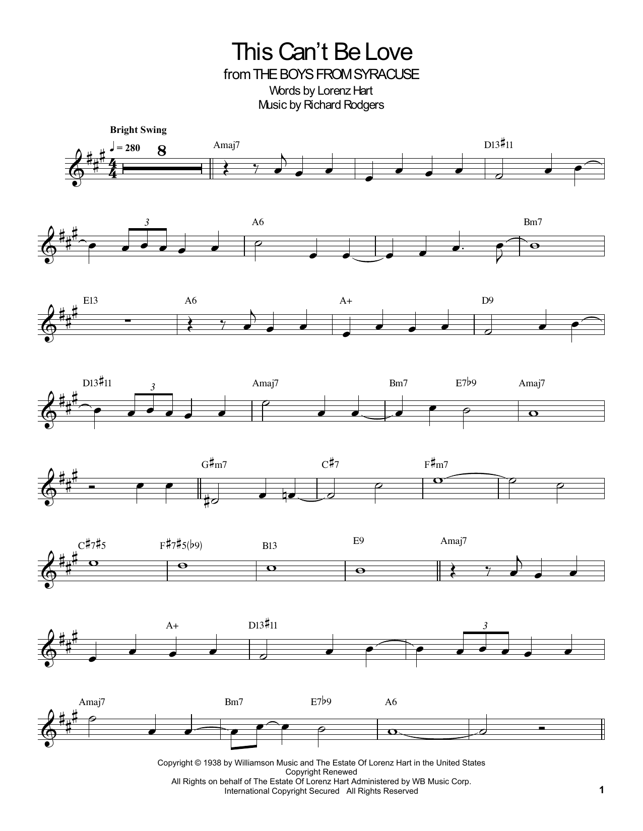Download Buddy DeFranco 'This Can't Be Love' Digital Sheet Music Notes & Chords and start playing in minutes