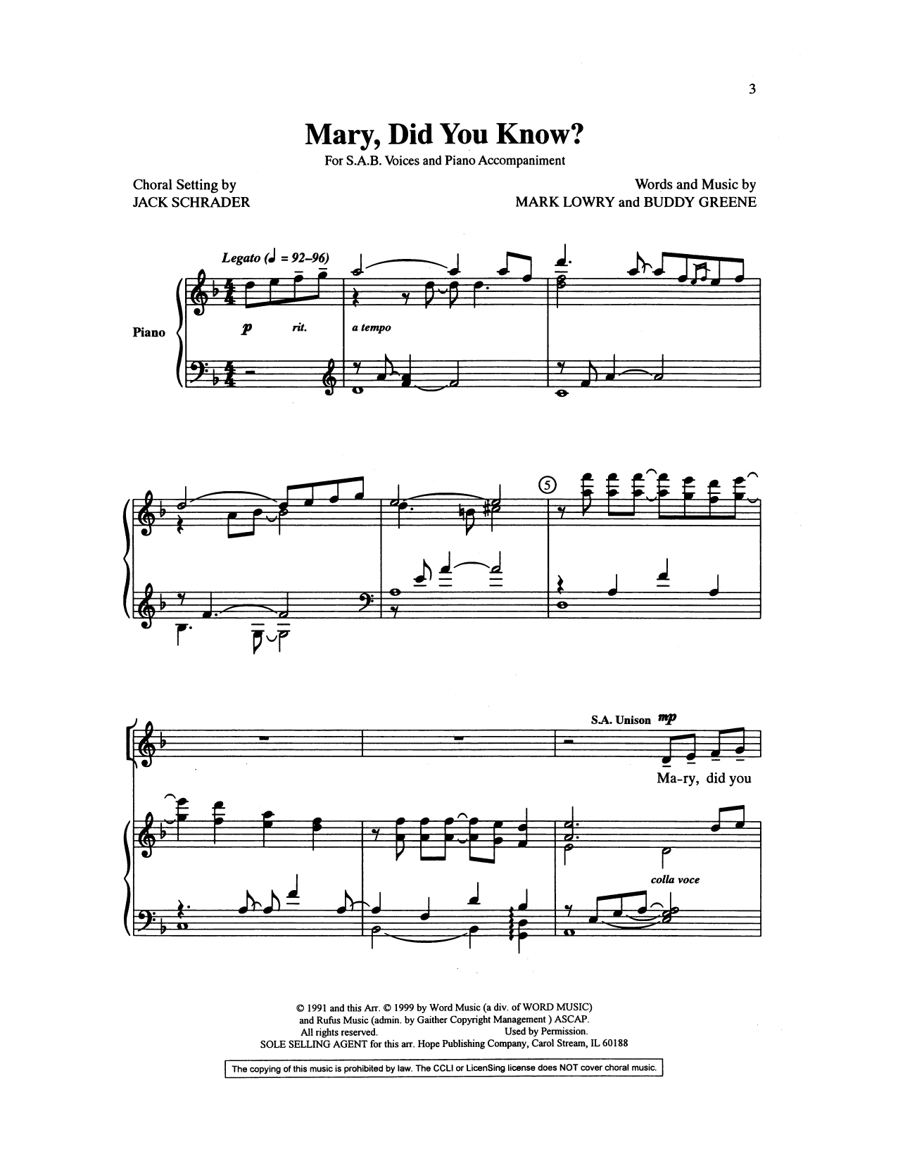 Buddy Greene Mary, Did You Know? (arr. Jack Schrader) sheet music preview music notes and score for 2-Part Choir including 10 page(s)