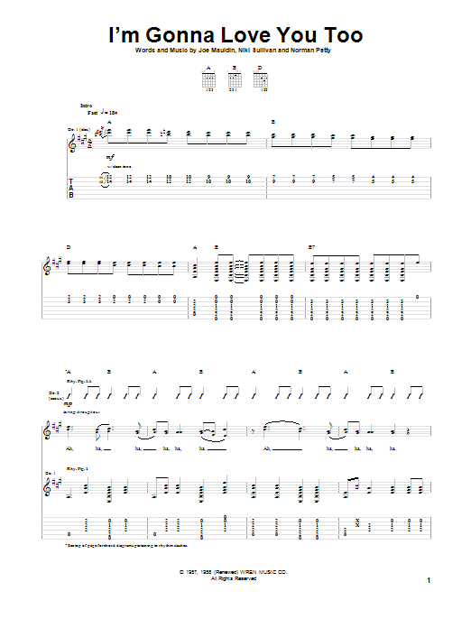 Buddy Holly I'm Gonna Love You Too sheet music notes and chords