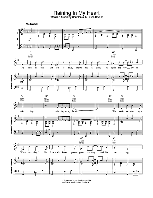Roy Orbison Raining In My Heart sheet music notes and chords