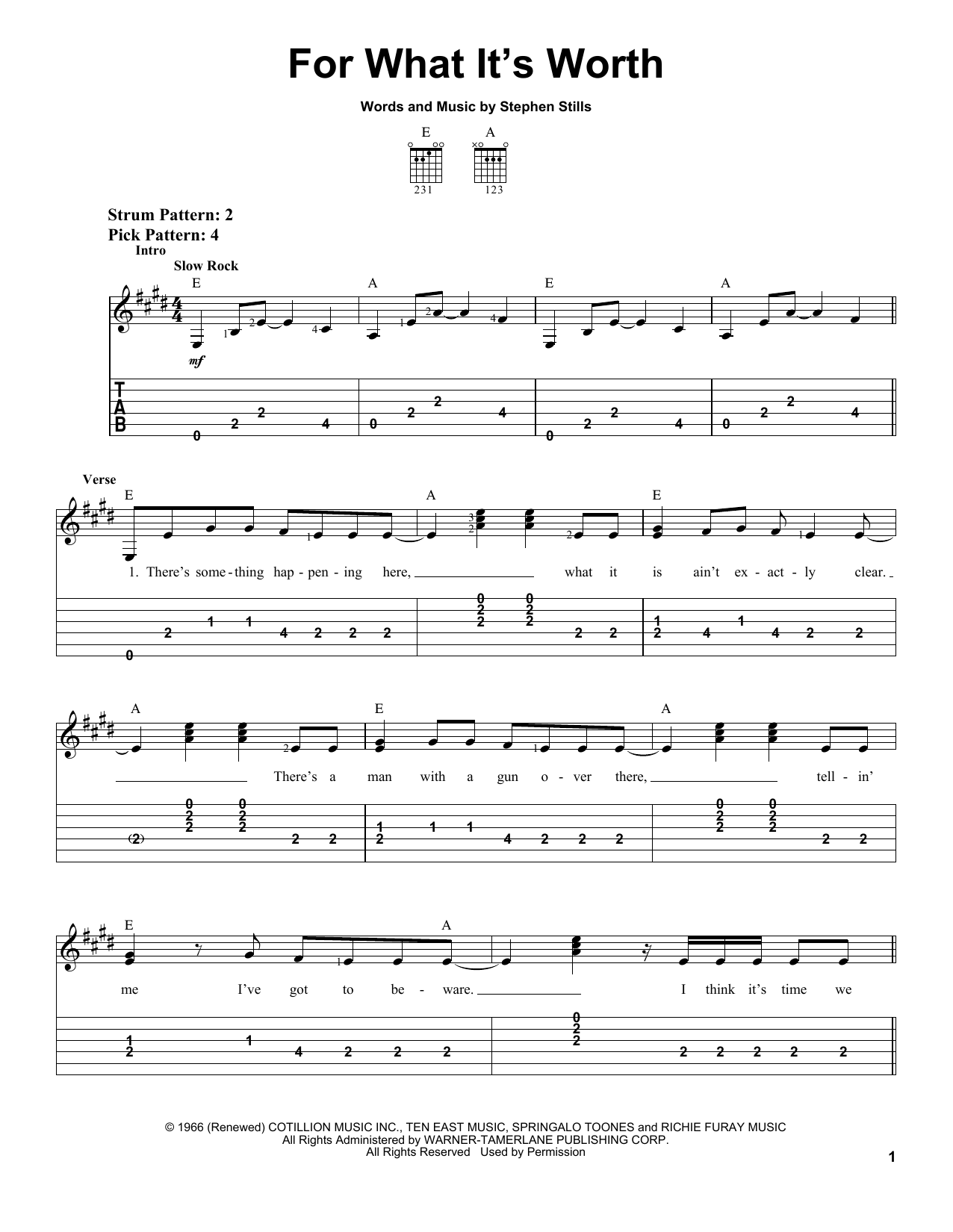 Buffalo Springfield For What It's Worth sheet music preview music notes and score for Easy Guitar Tab including 3 page(s)