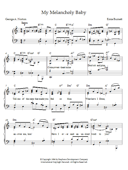 Ernie Burnett My Melancholy Baby sheet music preview music notes and score for Piano including 3 page(s)