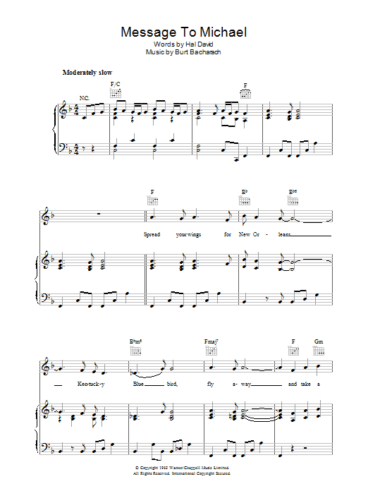 Burt Bacharach A Message to Martha (A Message To Michael/Kentucky Bluebird) sheet music preview music notes and score for Piano, Vocal & Guitar (Right-Hand Melody) including 7 page(s)