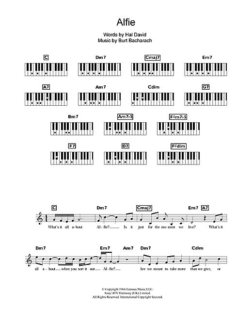 Burt Bacharach Alfie sheet music notes and chords