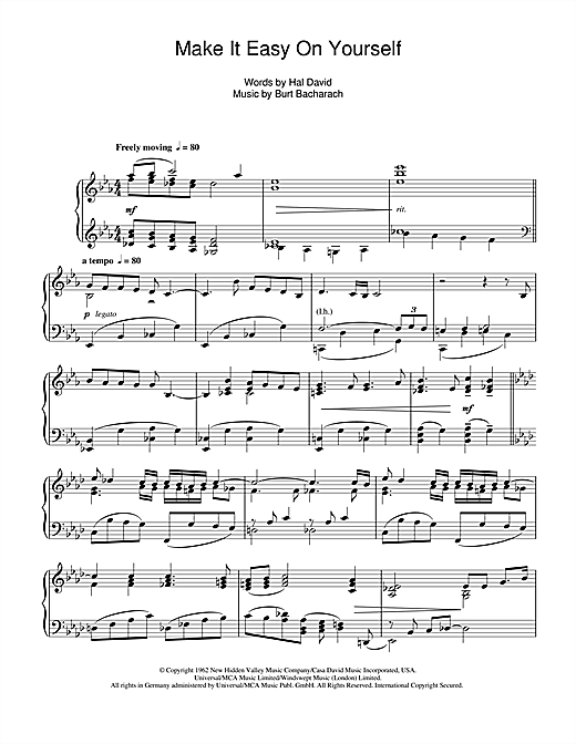 Download Burt Bacharach 'Make It Easy On Yourself' Digital Sheet Music Notes & Chords and start playing in minutes