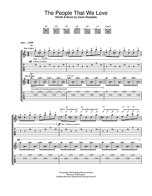 Bush The People That We Love sheet music notes and chords